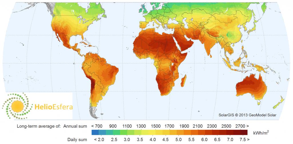 Mapa de radiación global